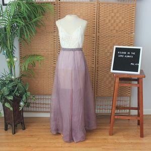 Vintage Lavender Silk Sheer Overlay Maxi Skirt S M